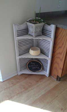 Make shutters into a corner shelf