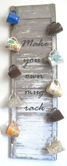 re purposed shutter mug rack, repurposing upcycling, storage ideas, Make your own Mug Rack