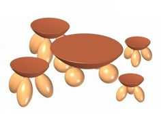 Round stools and table