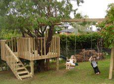 How to build a Tree House with a Slide and Swing-Set