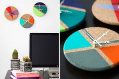 Cork Trivets into Color Block Clocks