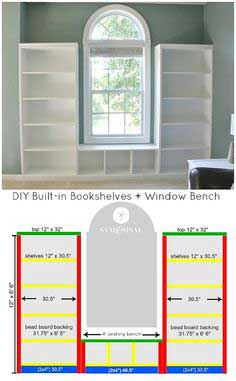 Built-in Bookshelves Window Bench