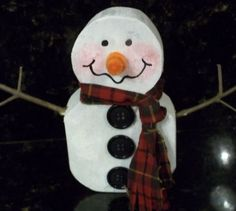 SNOWMAN from an old 2x4: recycle crafting