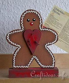 Wooden Gingerbread Man Recipe Card Holder