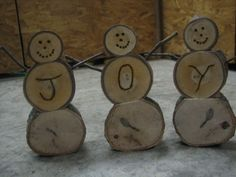 Homemade Wooden Log Snowmen
