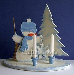 Wooden Snowman Centerpiece with Candle Holders