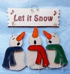 Winter and Christmas Wood Craft - Let it Snow Snowmen