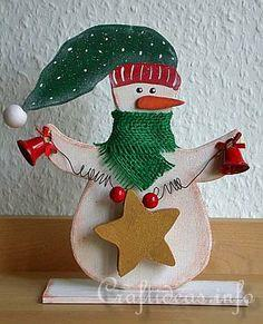Wooden Snowman with Star Shelf Decoration