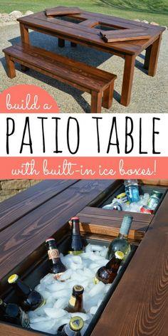 Build a patio table with built-in ice boxes Tutorial