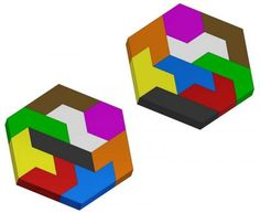 Rhombic blocks dissection puzzle plan