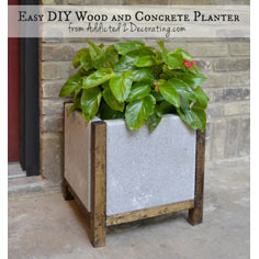 Wood and Concrete Planter