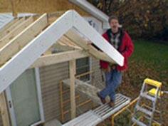 How to frame the roof of a portico