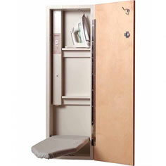 Hide-away ironing board is loaded with features, including a handy electrical outlet with on/off switch, storage shelves for iron and other items, a clothes hook, choice of three door styles and more